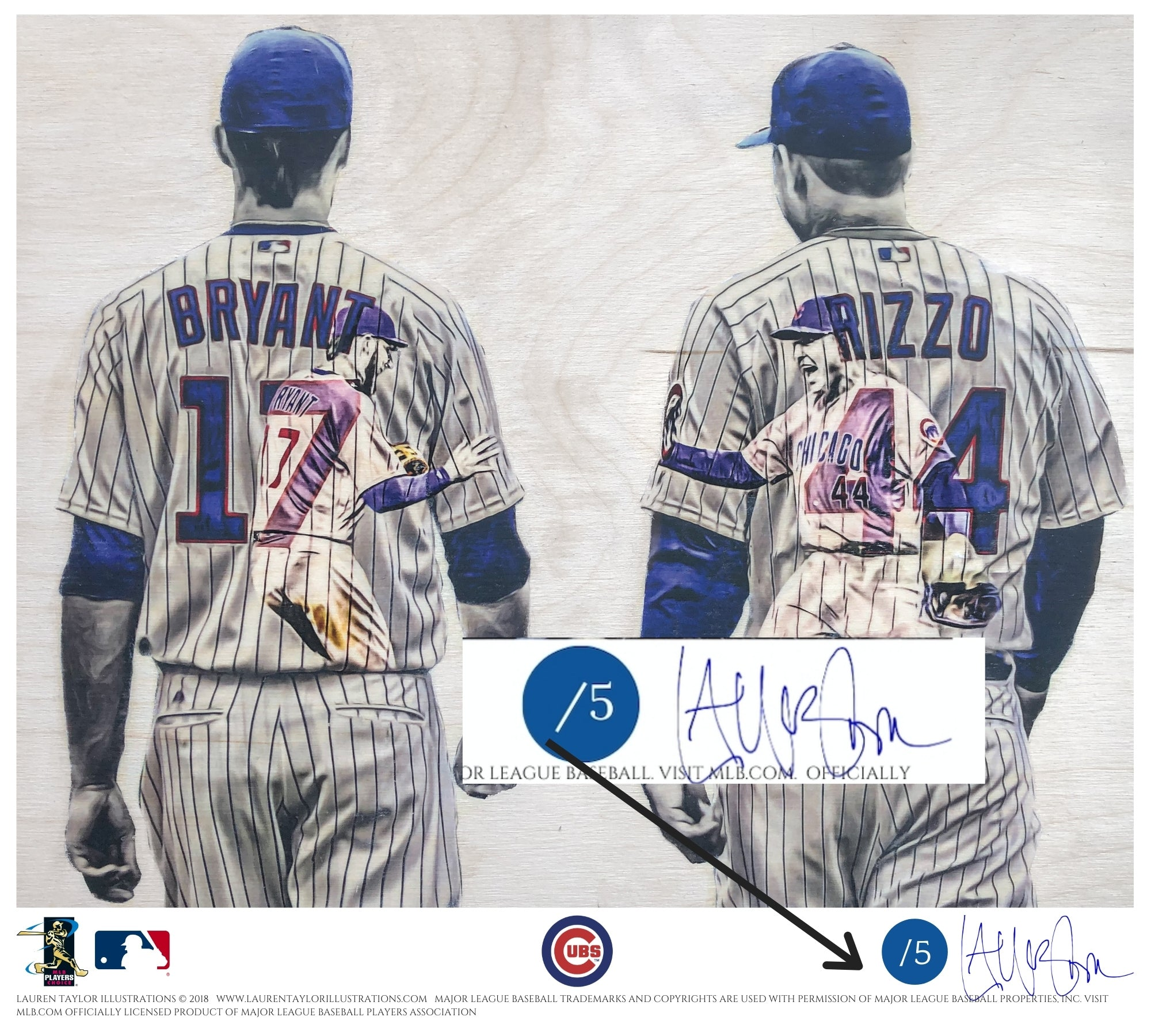 """Bryzzo"" (Kris Bryant and Anthony Rizzo) Chicago Cubs - Officially Licensed MLB Print - BLUE SIGNATURE LIMITED RELEASE /5"