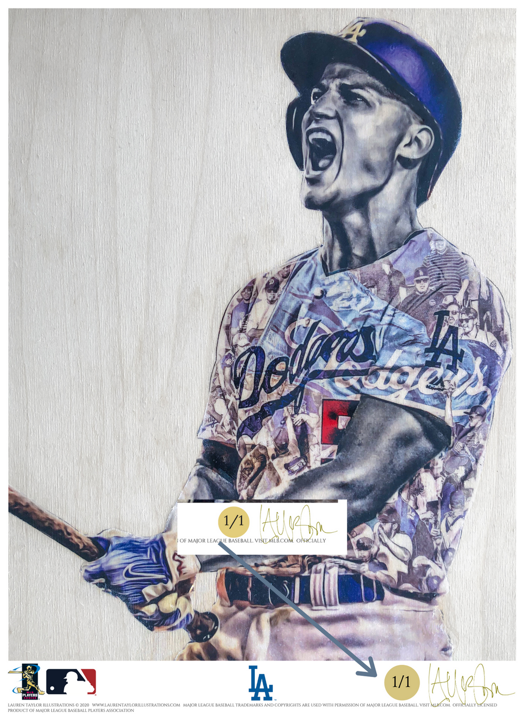 """C-Seag"" (Corey Seager) Los Angeles Dodgers - Officially Licensed MLB Print - GOLD SIGNATURE LIMITED RELEASE /1"