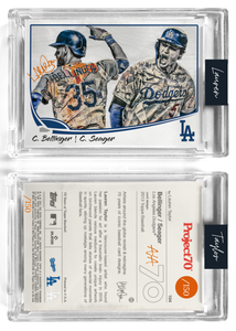 /150 Orange Artist Signature - Topps Project 70 130pt card #104 by Lauren Taylor - Cody Bellinger / Corey Seager