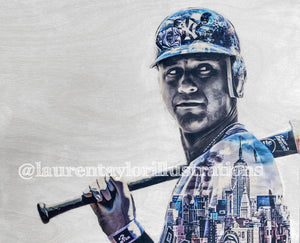 """Empire State"" (Derek Jeter) New York Yankees - 1/1 Original on Wood"