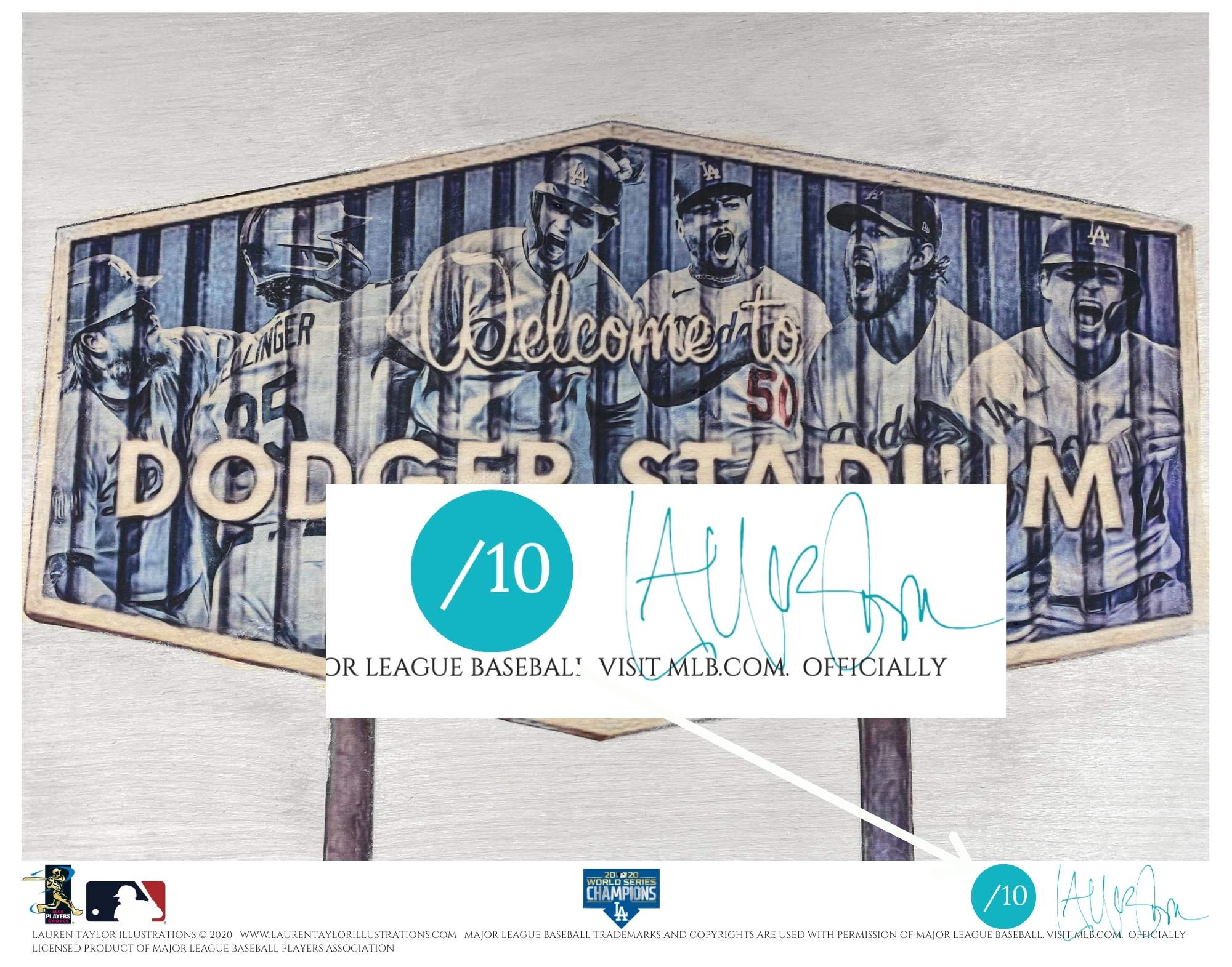 """Dodger Blue"" (Los Angeles Dodgers) 2020 World Series Champions - Officially Licensed MLB Print - Commemorative TEAL SIGNATURE Limited Release /10"