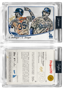 /1 Gold Metallic Artist Signature - Topps Project 70 130pt card #104 by Lauren Taylor - Cody Bellinger / Corey Seager