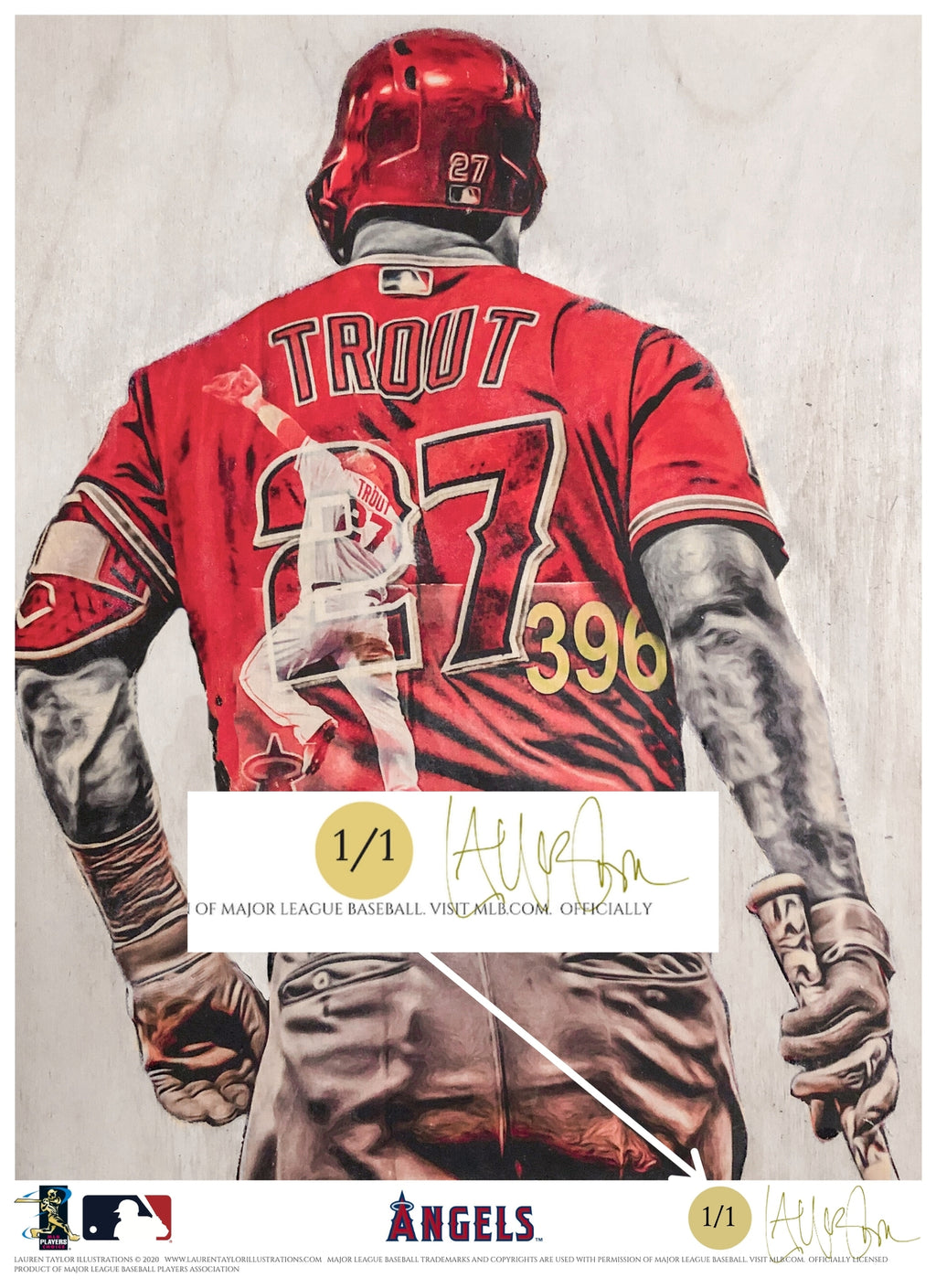 """WAR Lord"" (Mike Trout) Los Angeles Angels - Officially Licensed MLB Print - GOLD SIGNATURE LIMITED RELEASE /1"