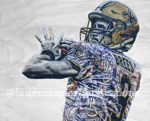 """Brees"" (Drew Brees) 1/1 Original on Wood - New Orleans Saints"