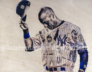 """Final Walkoff"" (Derek Jeter) New York Yankees - 1/1 Original on Wood"
