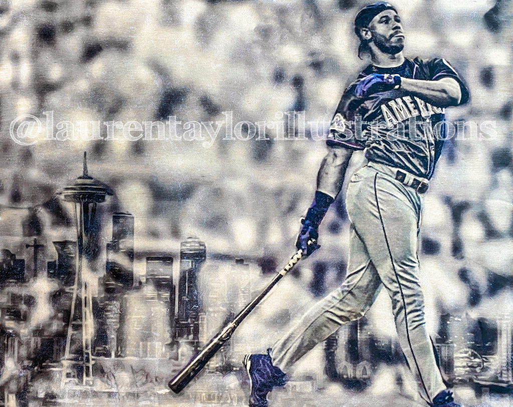 """Junior"" (Ken Griffey Jr.) Seattle Mariners - 1/1 Original on Wood"