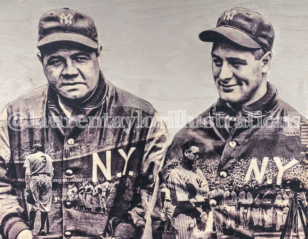 """History Made..."" (Lou Gehrig and Babe Ruth) New York Yankees - 1/1 Original on Birchwood"