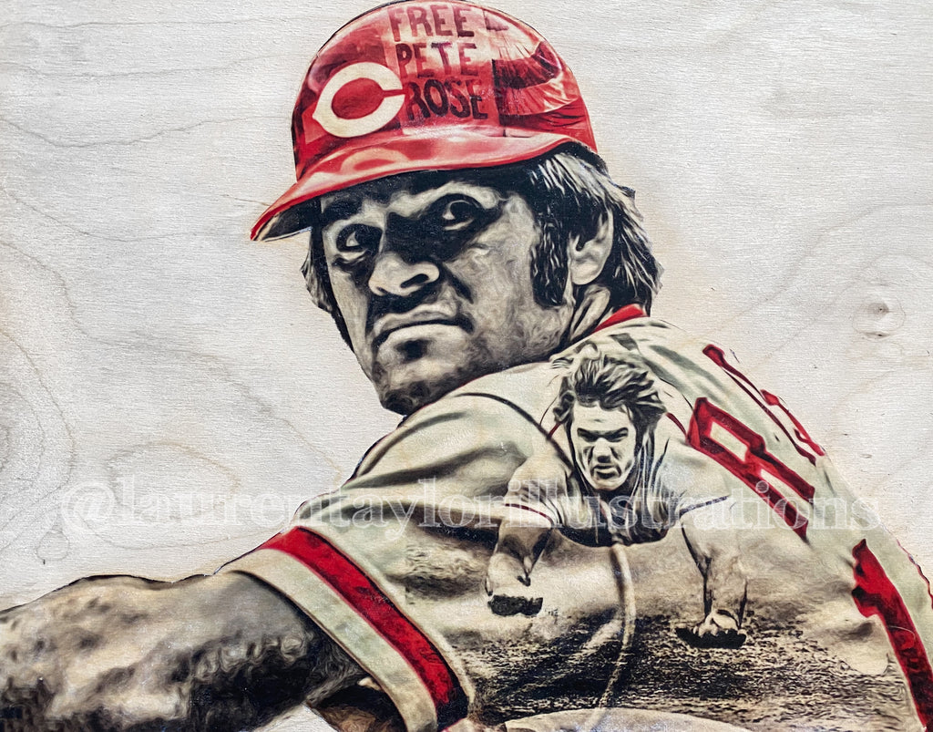 """Charlie Hustle"" (Pete Rose) - Cincinnati Reds - 1/1 Original on Wood"