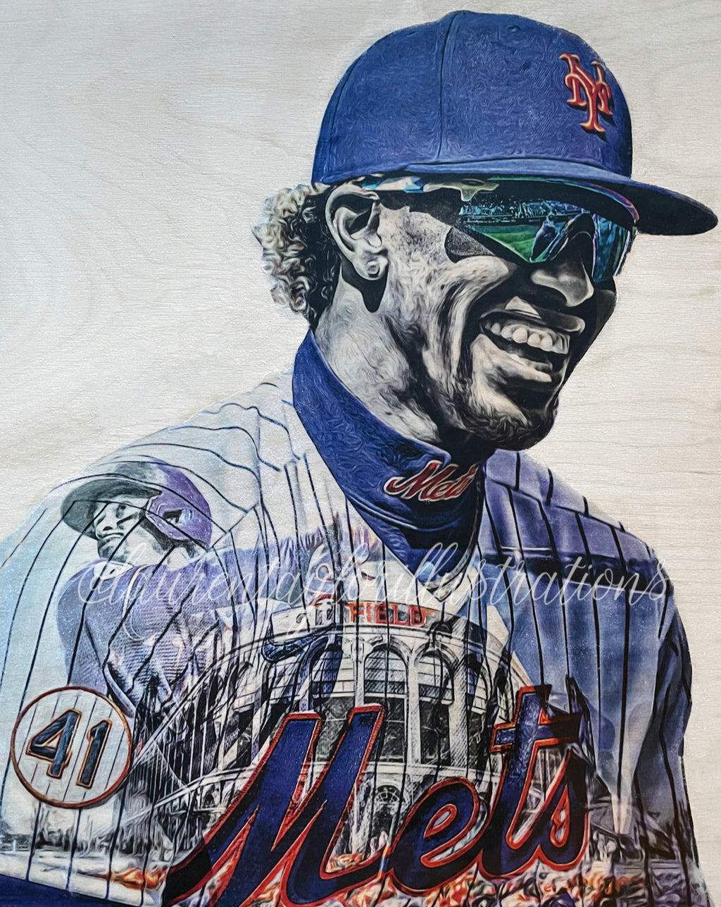 """New Threads"" (Francisco Lindor) New York Mets - 1/1 Original on Wood"