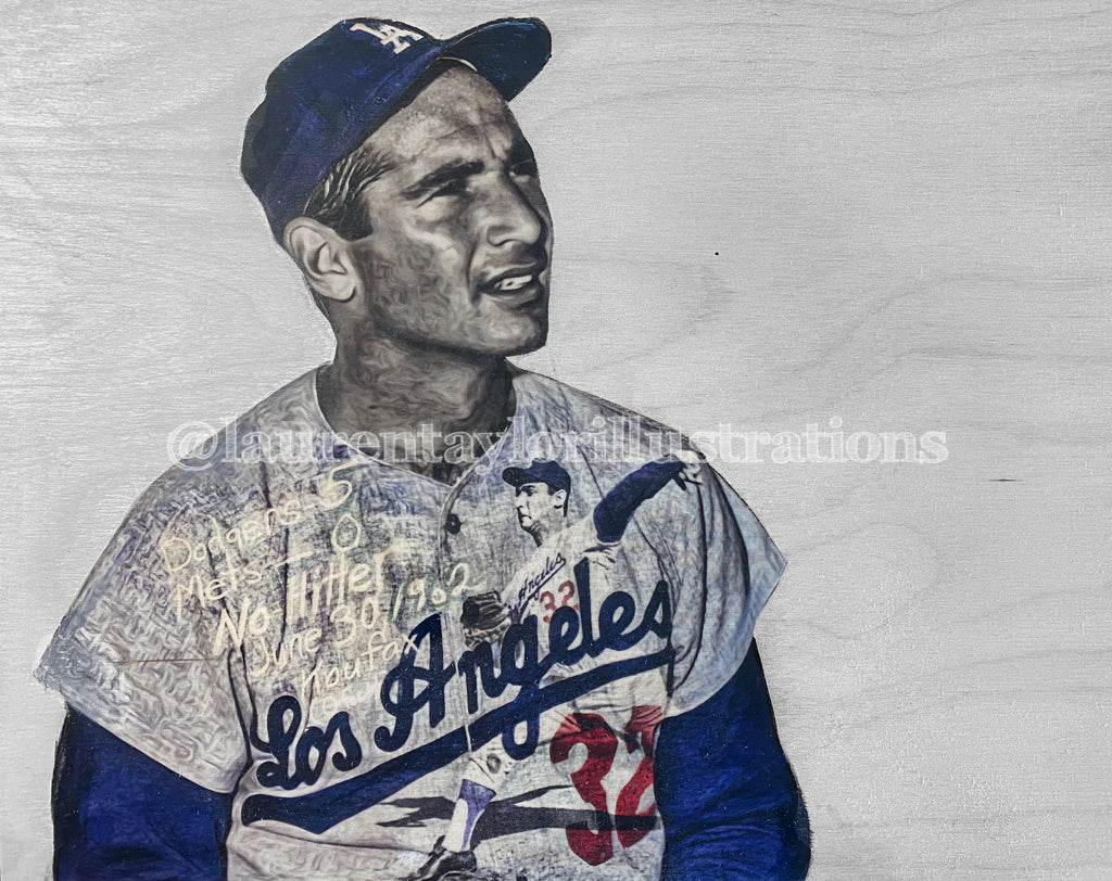 """The Left Arm of God"" (Sandy Koufax) Los Angeles Dodgers - 1/1 Original on Wood"
