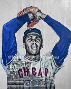 """Fergie"" (Ferguson Arthur Jenkins) Chicago Cubs - 1/1 Original on Wood"