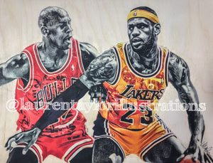 """MJ and LJ"" - (Michael Jordan and Lebron James) - Los Angeles Lakers and Chicago Bulls Print"