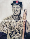 """Splendid Splinter"" (Ted Williams) Boston Red Sox - 1/1 Original on Birchwood"