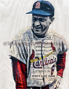 """The Man"" (Stan Musial) St. Louis Cardinals - 1/1 Original on Wood"