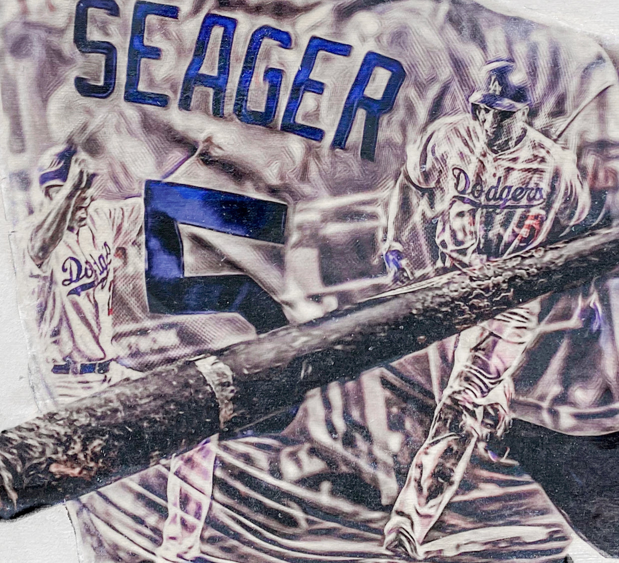"""Seager"" (Corey Seager) - Officially Licensed MLB Print - Limited Release"