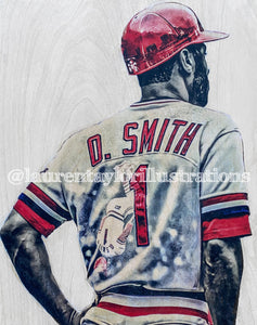"""The Wizard"" (Ozzie Smith) St. Louis Cardinals - 1/1 Original on Wood"
