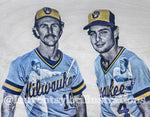"""Yount and Molitor"" (Robin Yount and Paul Molitor) Milwaukee Brewers - 1/1 Original on birchwood"