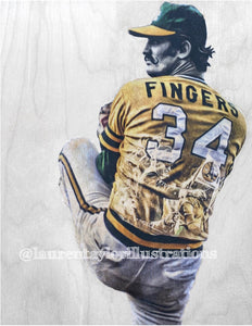 """Rollie Fingers"" (Roland Glen Fingers) Oakland Athletics - Original on Wood"