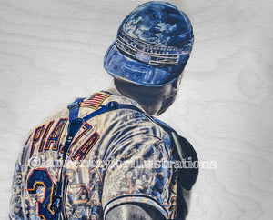 """Pepperoni"" (Mike Piazza) New York Mets - Original on Wood"