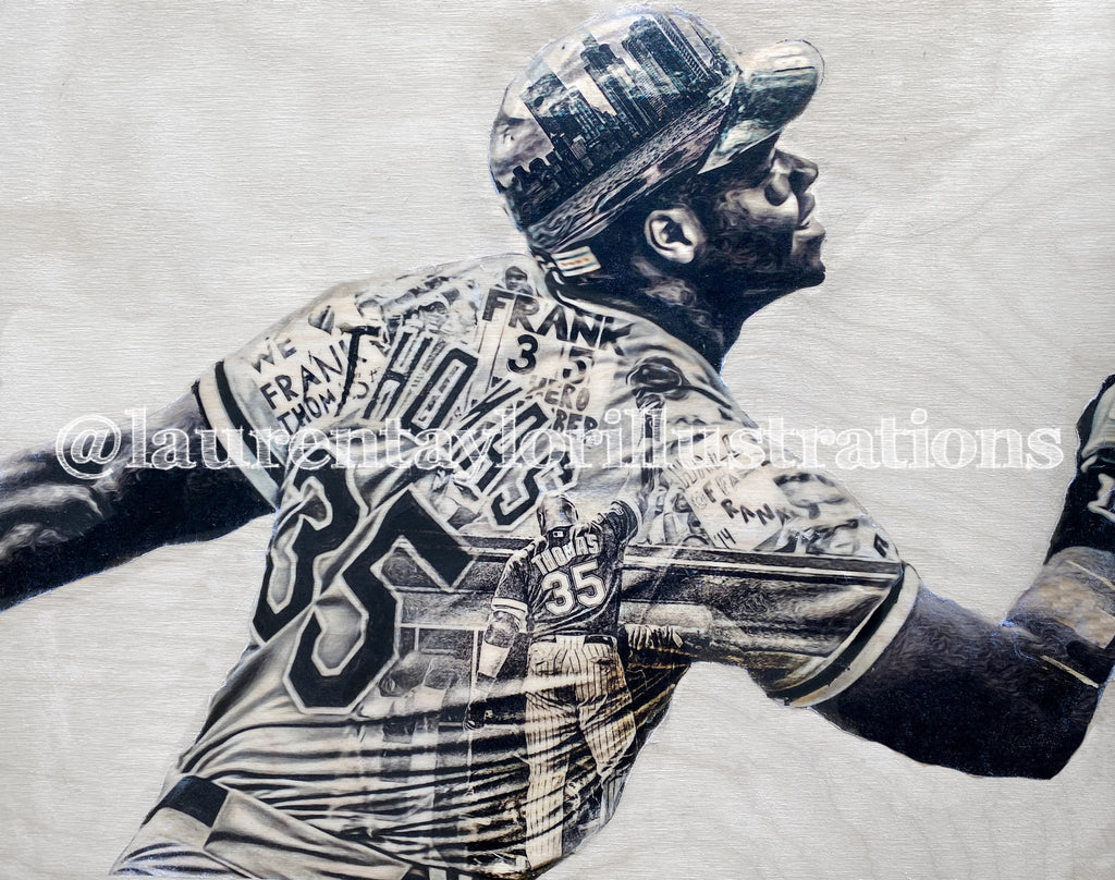 """The Big Hurt"" (Frank Thomas) Chicago White Sox - Original on Wood"