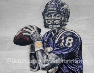 """The Sheriff"" (Peyton Manning) Indianapolis Colts, Denver Broncos & Tennessee Volunteers - Print on 100lb Cardstock"