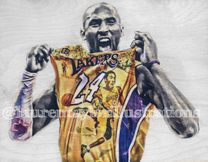 """Mamba Mentality"" (Kobe Bryant) - Los Angeles Lakers - Mixed Media Original on Wood"