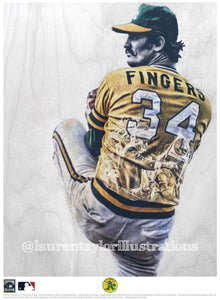 """Rollie"" (Rollie Fingers) Oakland Athletics - Officially Licensed MLB Cooperstown Collection Print - Limited Release"