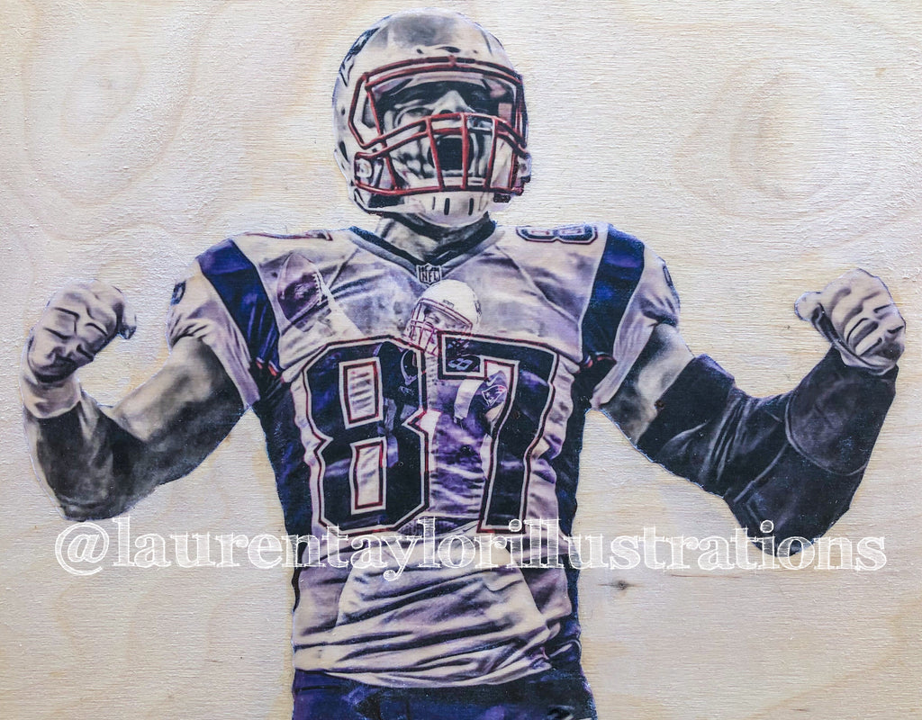 """GRONK"" (Rob Gronkowski) 1/1 Original on Wood - New England Patriots"