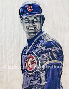 """Ryno"" (Ryne Sandberg) Chicago Cubs - 1/1 Original on Wood"