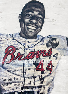 """Hammerin' Hank"" (Hank Aaron) Atlanta Braves - 1/1 Original on Wood"