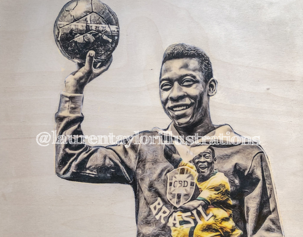 """Pele"" Soccer (Brazil) 1/1 Original on Wood"