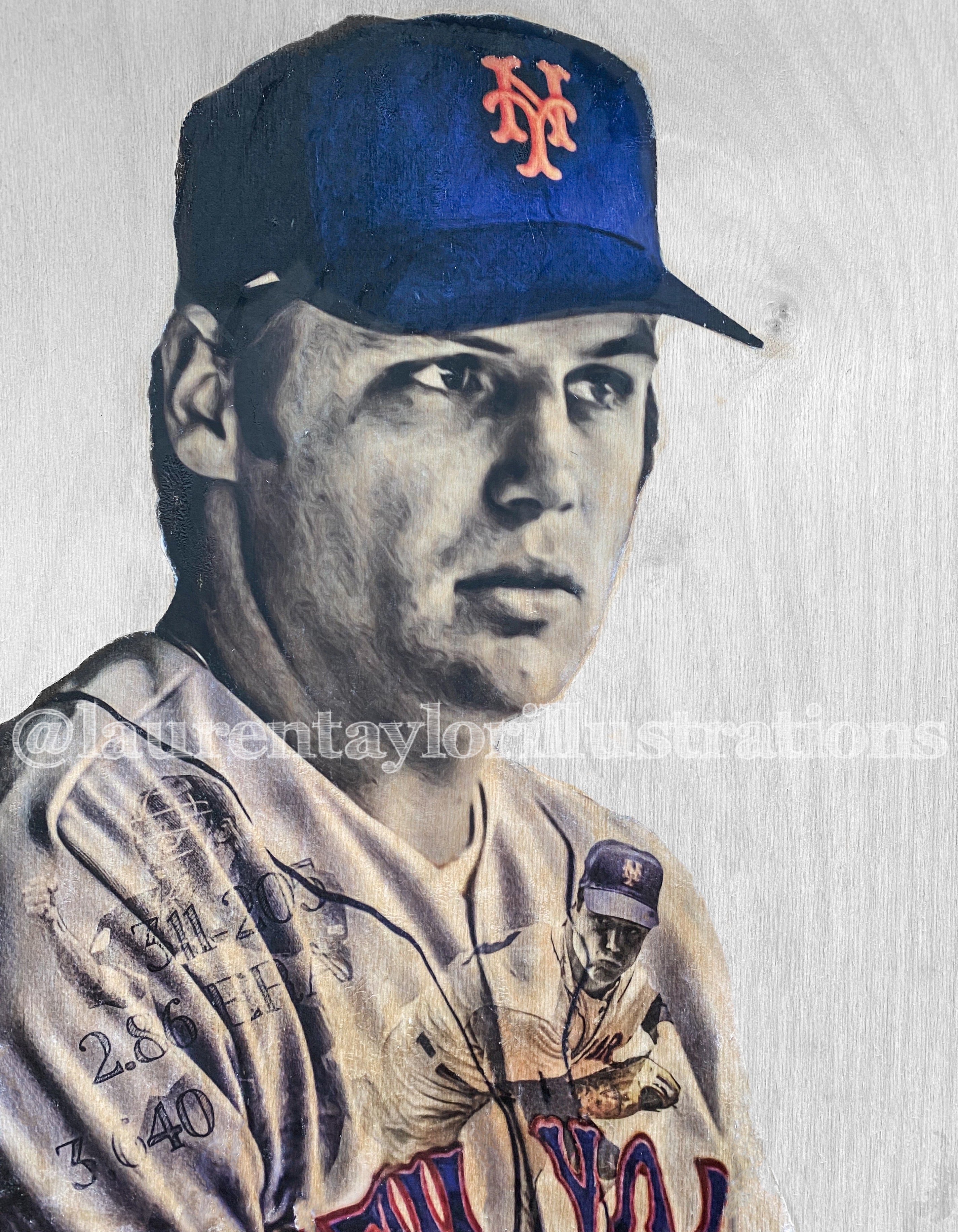 """The Franchise"" (Tom Seaver) New York Mets - Original on Wood"