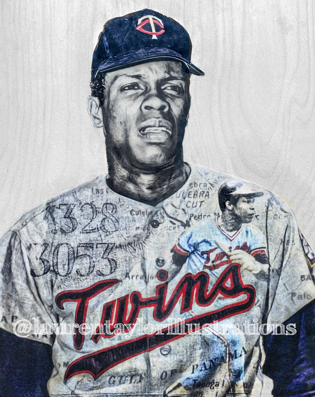 """Sir Rodney"" (Rod Carew) Minnesota Twins- 1/1 Original on Wood"