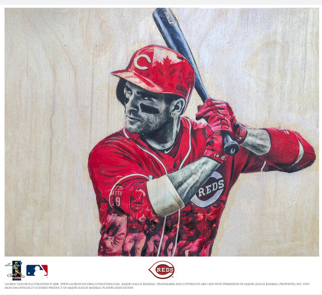 """Votto"" (Joey Votto) - Cincinnati Reds - 1/1 Original on Wood"