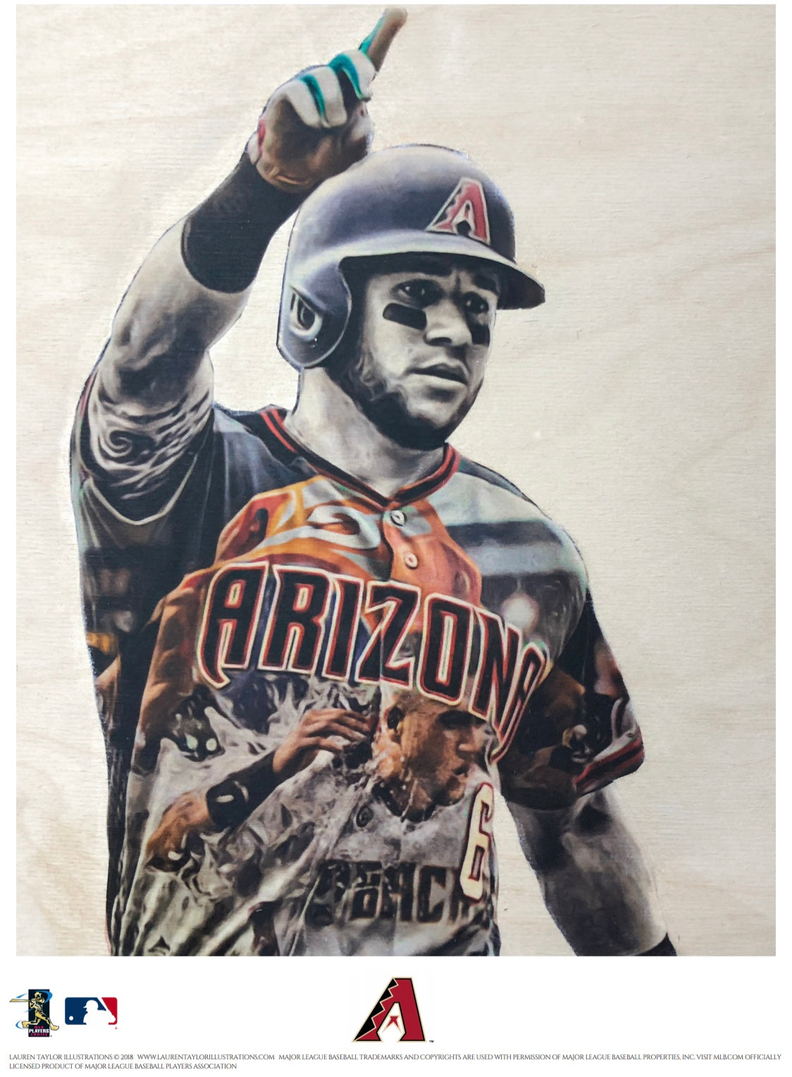 """Peralta"" (David Peralta) - Officially Licensed MLB Print - Limited Release"