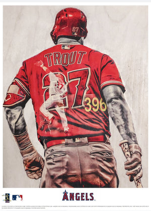 """WAR Lord"" (Mike Trout) Los Angeles Angels - Officially Licensed MLB Print - BLUE SIGNATURE LIMITED RELEASE /5"