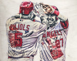 """Back2Back"" (Albert Pujols and Mike Trout) Los Angeles Angels - 1/1 Original on Wood"