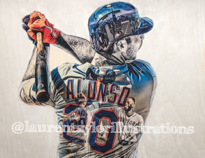 """Alonso"" (Pete Alonso) New York Mets -  Original on Wood"