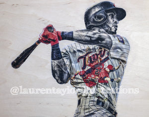 """Bandidou"" (Eddie Rosario) Original on Wood"