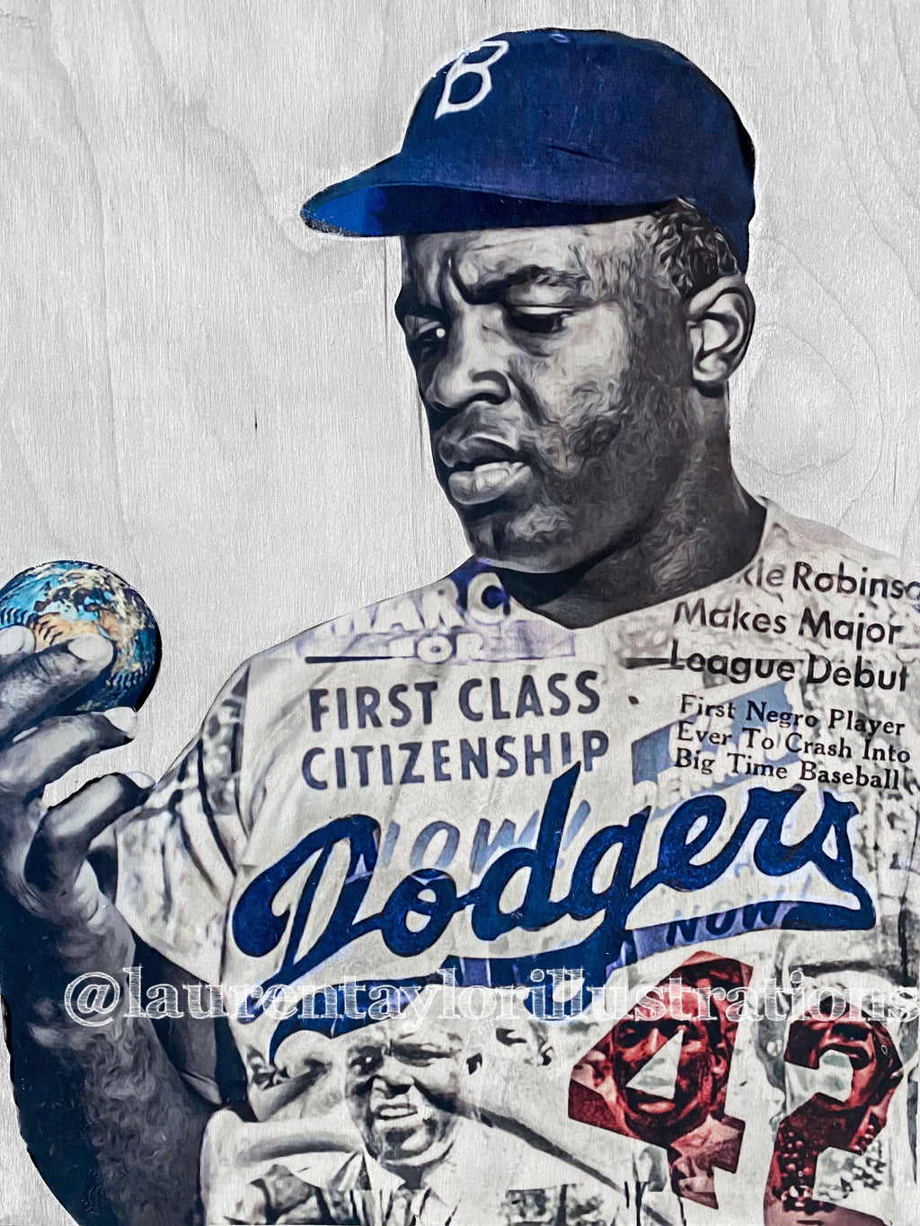 """Broken Barriers"" (Jackie Robinson) Brooklyn Dodgers - 1/1 Original on birchwood"