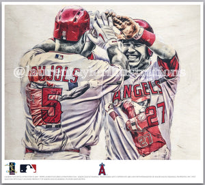 """Back 2 Back"" (Mike Trout and Albert Pujols) - Officially Licensed MLB Print - Limited Release"