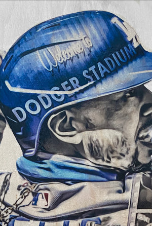 """Welcome to LA"" (Mookie Betts) Los Angeles Dodgers - 1/1 Original on Wood"