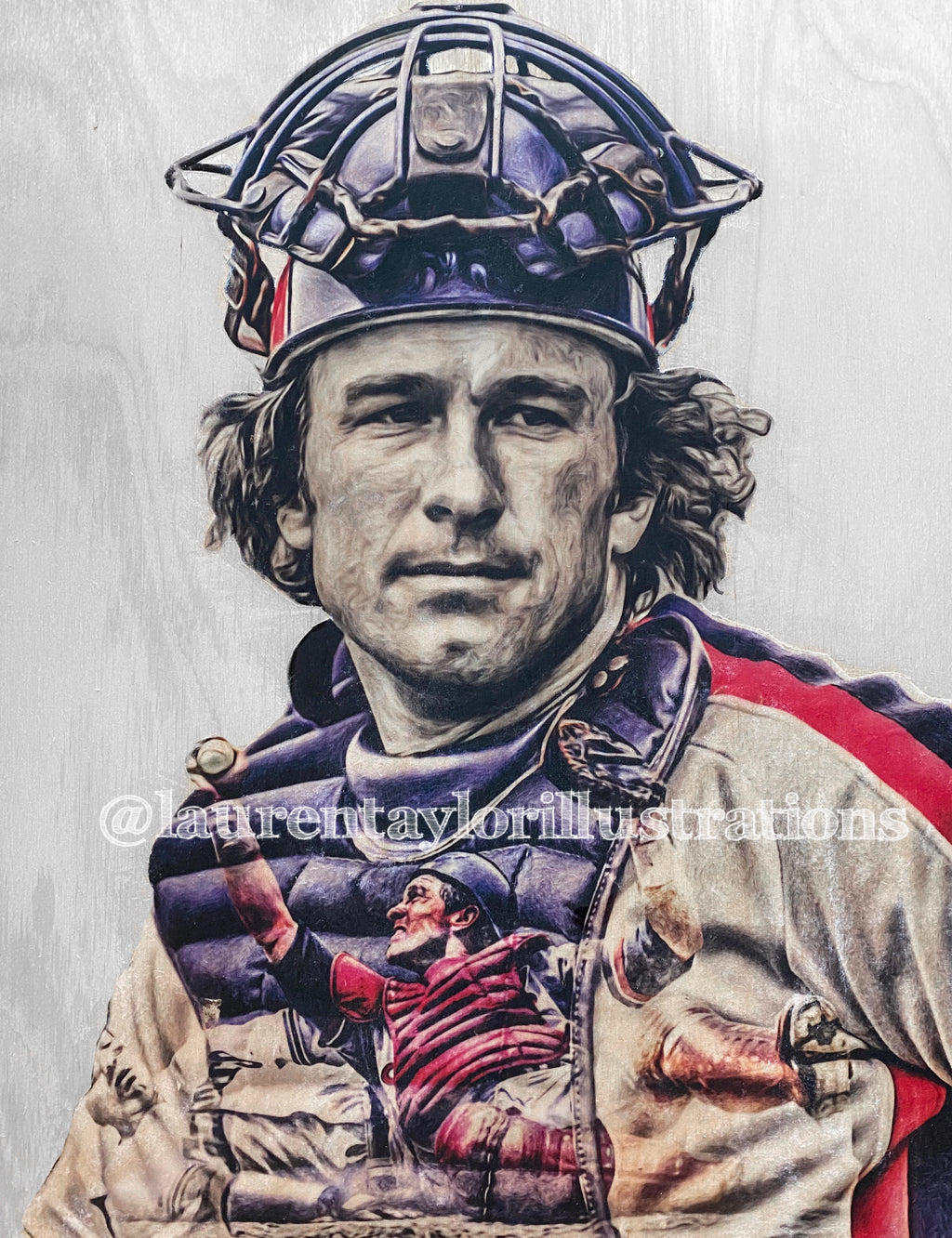 """Gary"" (Gary Carter) Montreal Expos - Original on Wood"