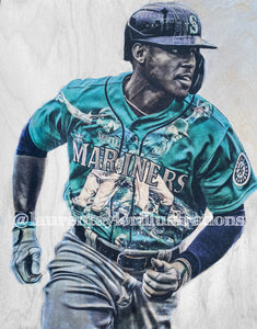 """KLew1"" (Kyle Lewis) Seattle Mariners - 1/1 Original on Wood"
