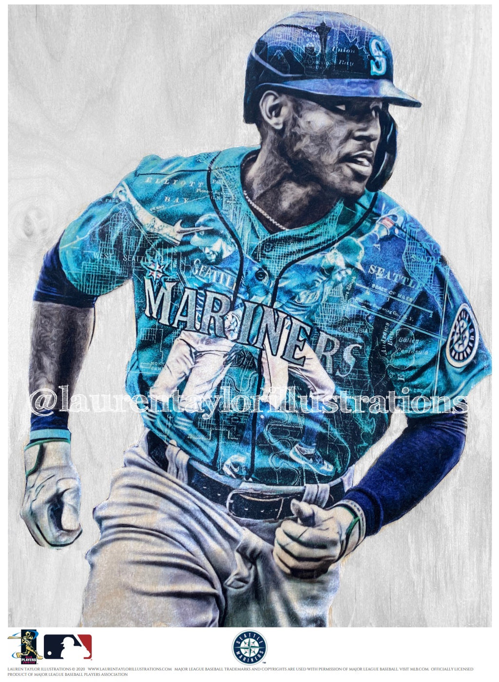 """KLew_1"" (Kyle Lewis ft. JP Crawford) Seattle Mariners - Officially Licensed MLB Print - Limited Release"