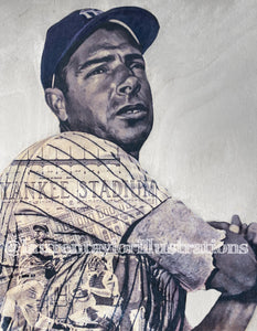 """The Yankee Clipper"" (Joe DiMaggio) New York Yankees - 1/1 Original on Birchwood"