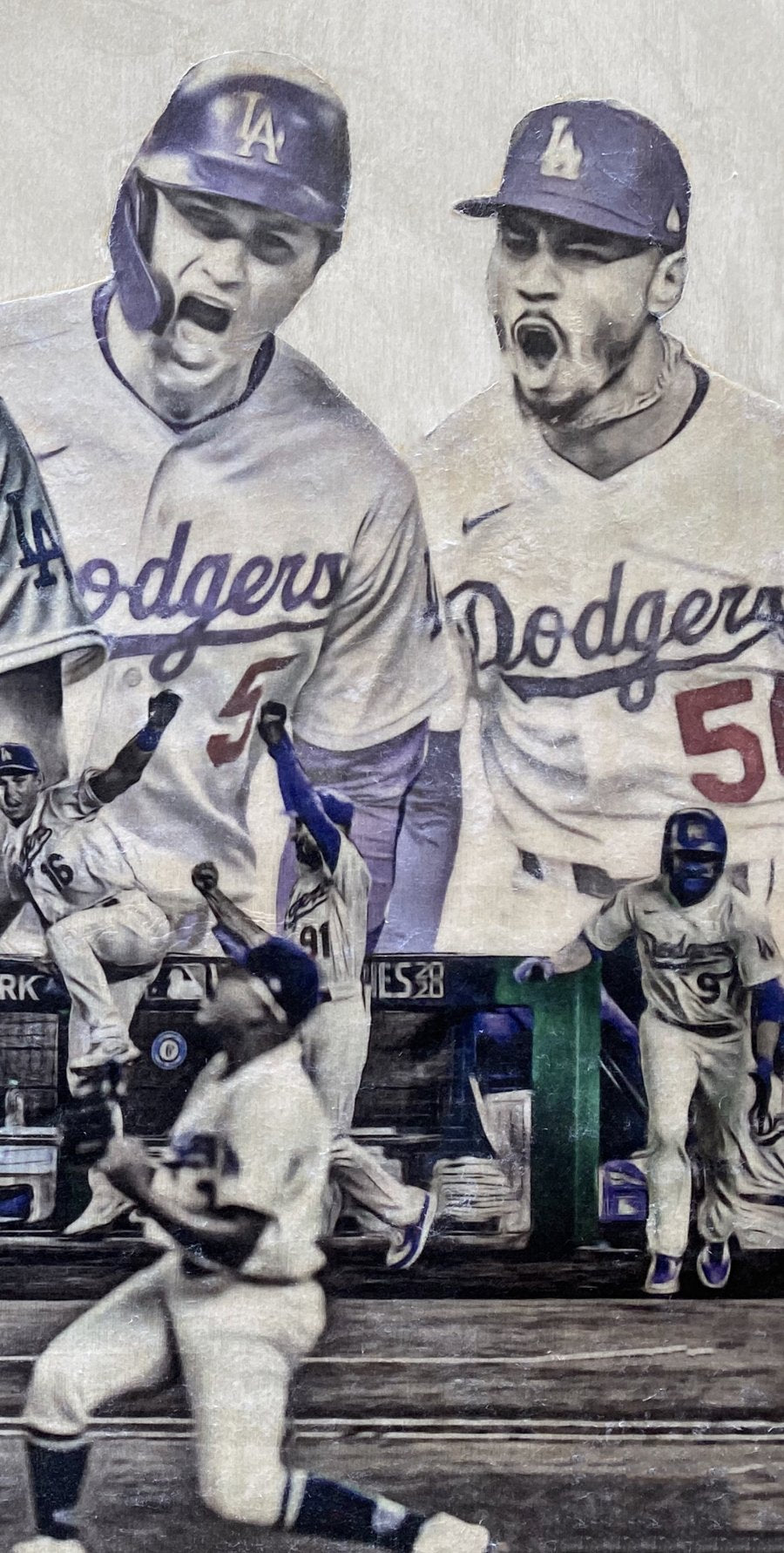 """Seven"" (Los Angeles Dodgers) 2020 World Series Champions - Officially Licensed MLB Print - Commemorative NAVY BLUE SIGNATURE Limited Release /100"