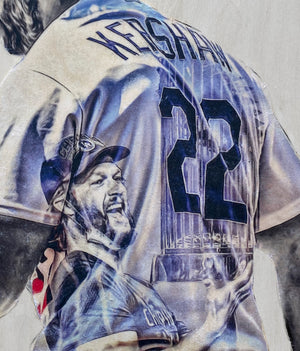 """King Kershaw"" (Clayton Kershaw) Los Angeles Dodgers - 1/1 Original on Wood"
