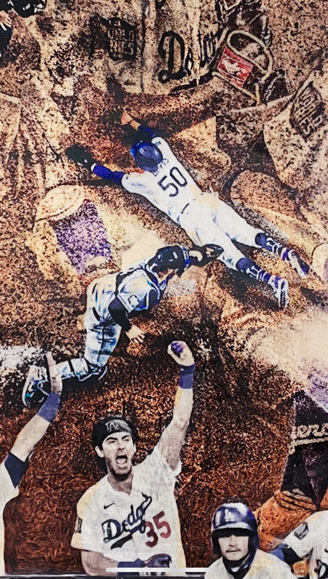 """Play at the Plate"" (World Series Commemorative Piece Part II) Los Angeles Dodgers - 1/1 Original on Wood"