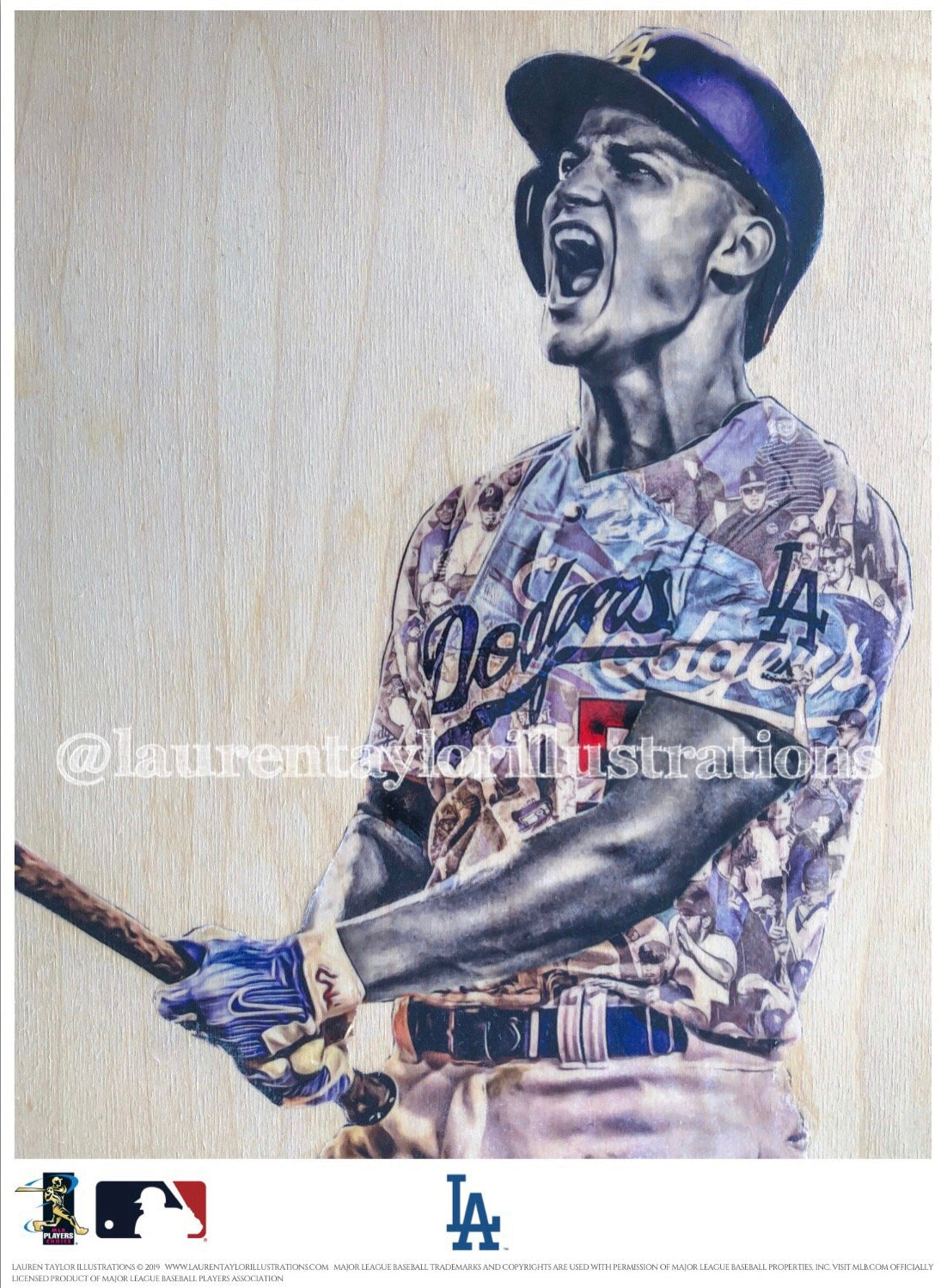 """C-Seag"" (Corey Seager) Los Angeles Dodgers - Officially Licensed MLB Print - RED SIGNATURE LIMITED RELEASE /10"